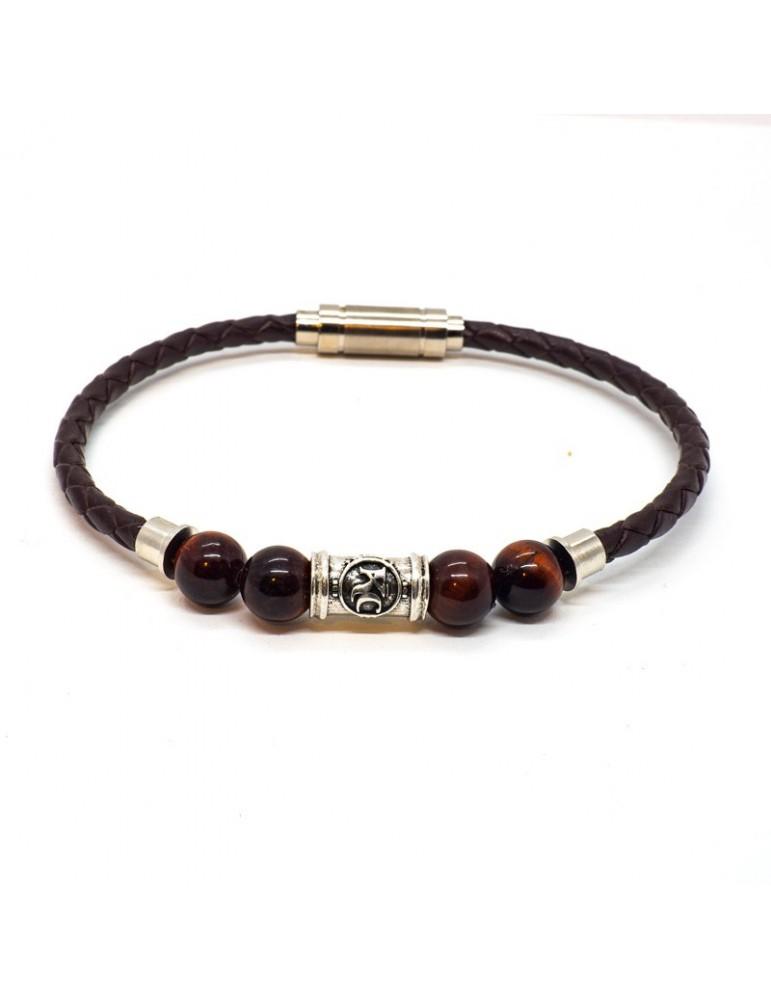 Bracelet homme Kinacou - Cuir bordeaux et Perles oeil de taureau