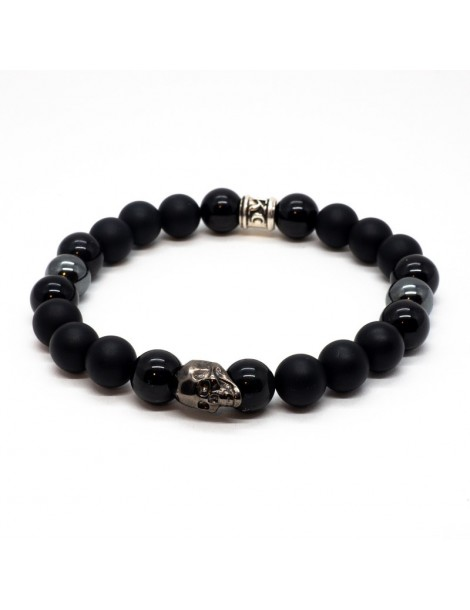 Bracelet Black Skull noir Kinacou - Onyxe Mat hematite