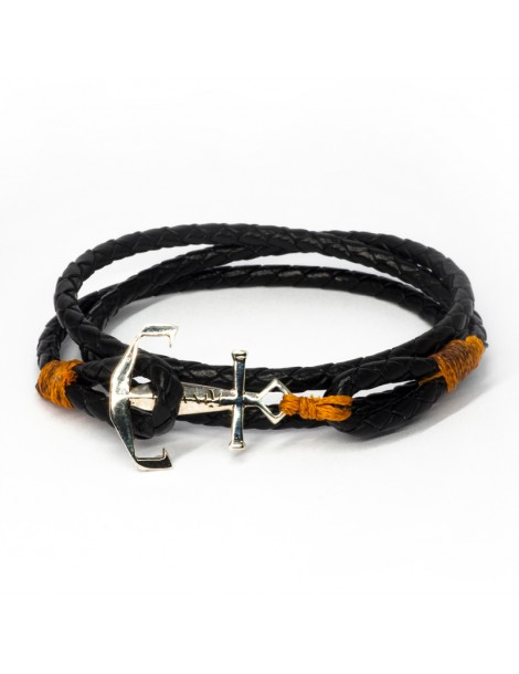 Bracelet Ancre marine Kinacou - cuir noir