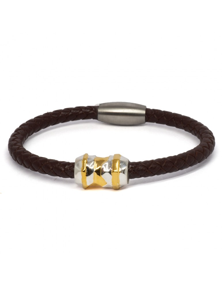 "Bracelet ""Élixir"" Kinacou - Cuir Marron"