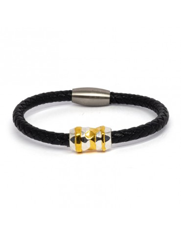 "Bracelet ""Élixir"" Kinacou - Cuir Noir"