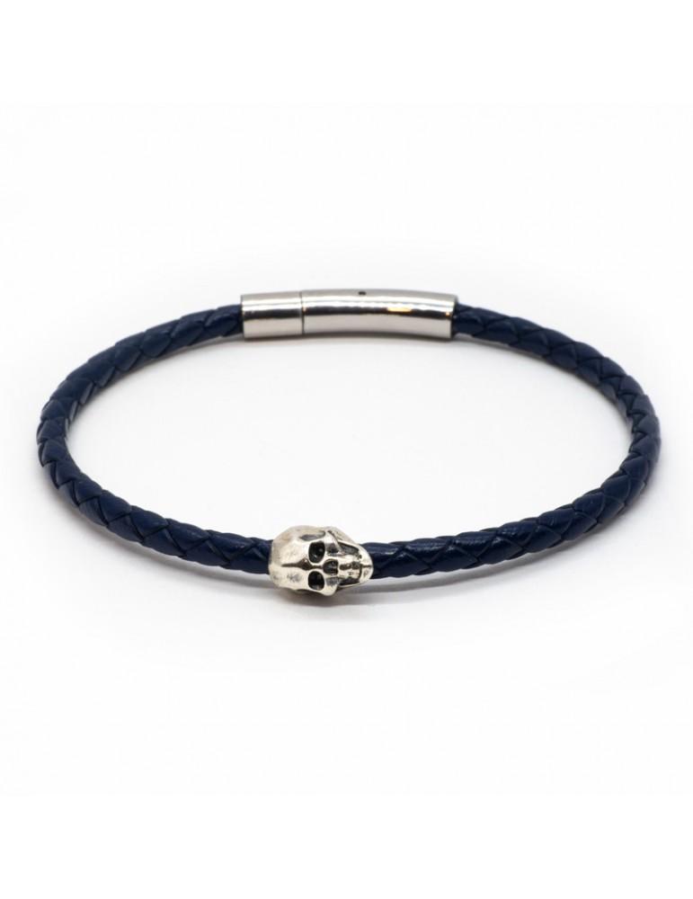 Bracelet Skull bleu marine homme Kinacou - Cuir tressé