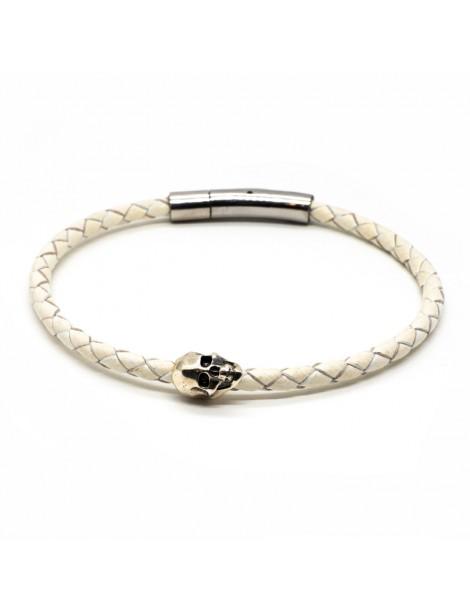 Bracelet Skull blanc homme Kinacou - Cuir tressé