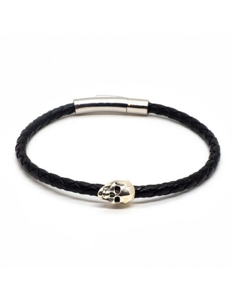 Bracelet Skull Noir homme Kinacou - Cuir tressé