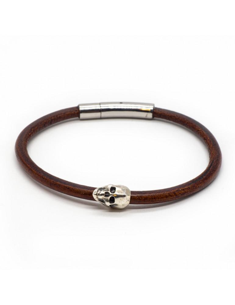 Bracelet Skull marron homme Kinacou - Cuir lisse