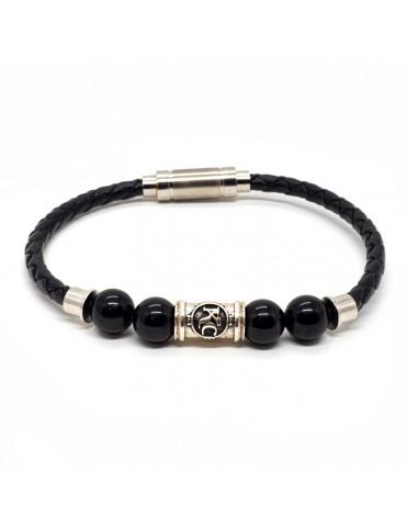 Bracelet homme Kinacou - Cuir noir et Perles Obsidienne