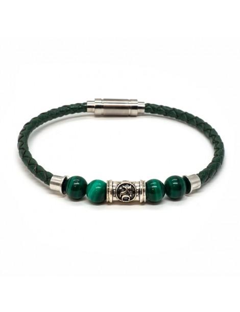 Bracelet homme Kinacou - Cuir vert et Perles malachite