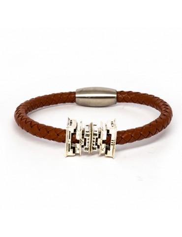 "Bracelet marron ""Nicou"" Kinacou - Pyramide et Cuir tressé"