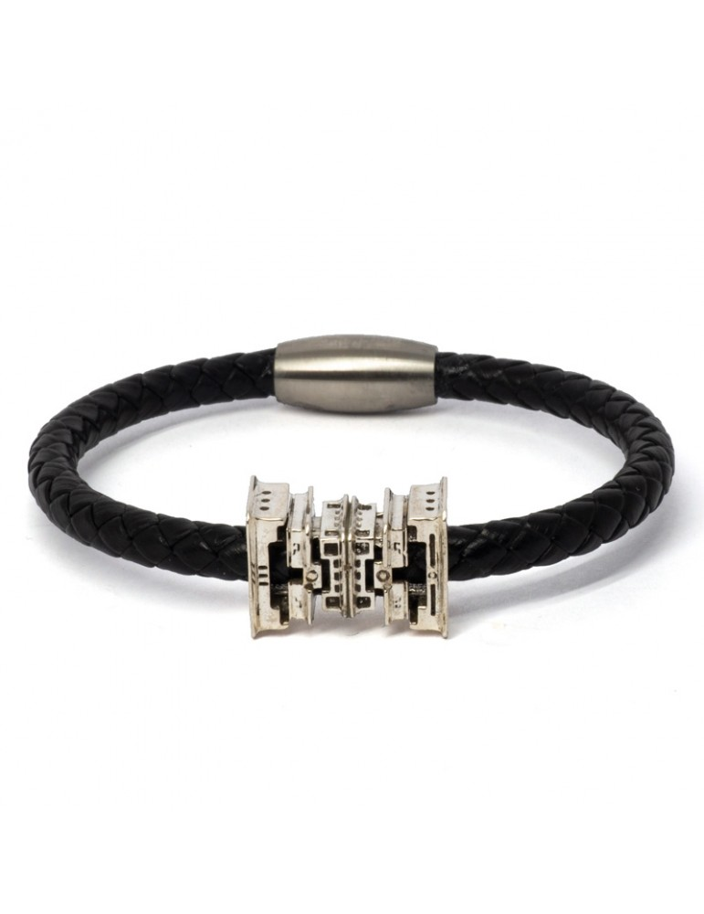 """Bracelet noir """"Nicou"""" Kinacou - Pyramide et Cuir tressé"""