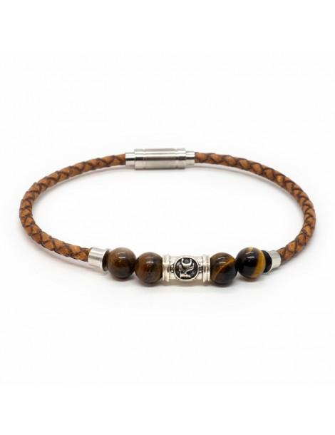 Bracelet homme Kinacou - Cuir marron et Perles Œil de Tigre