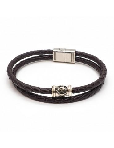 Bracelet café homme Kinacou - cuir tressé double