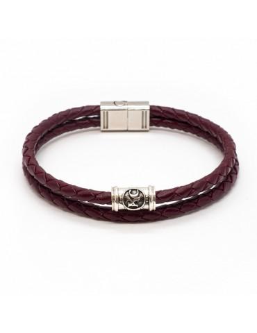 Bracelet bordeaux homme Kinacou - cuir tressé double