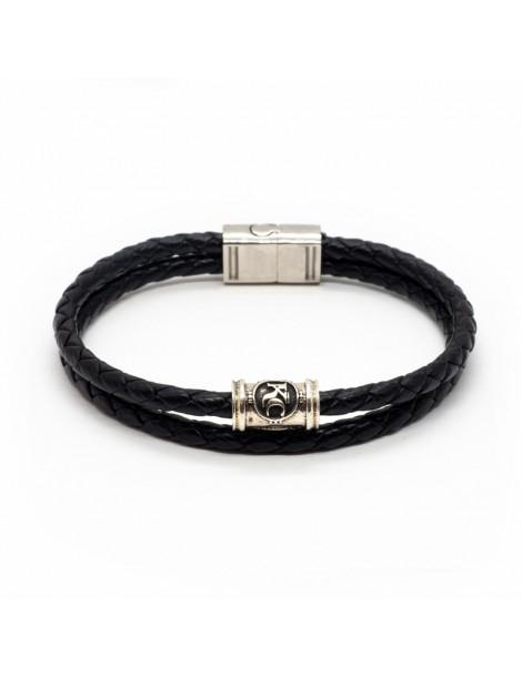 Bracelet noir homme Kinacou - Cuir tressé double