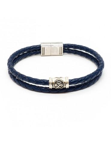 Bracelet bleu marine homme Kinacou - Cuir tressé double