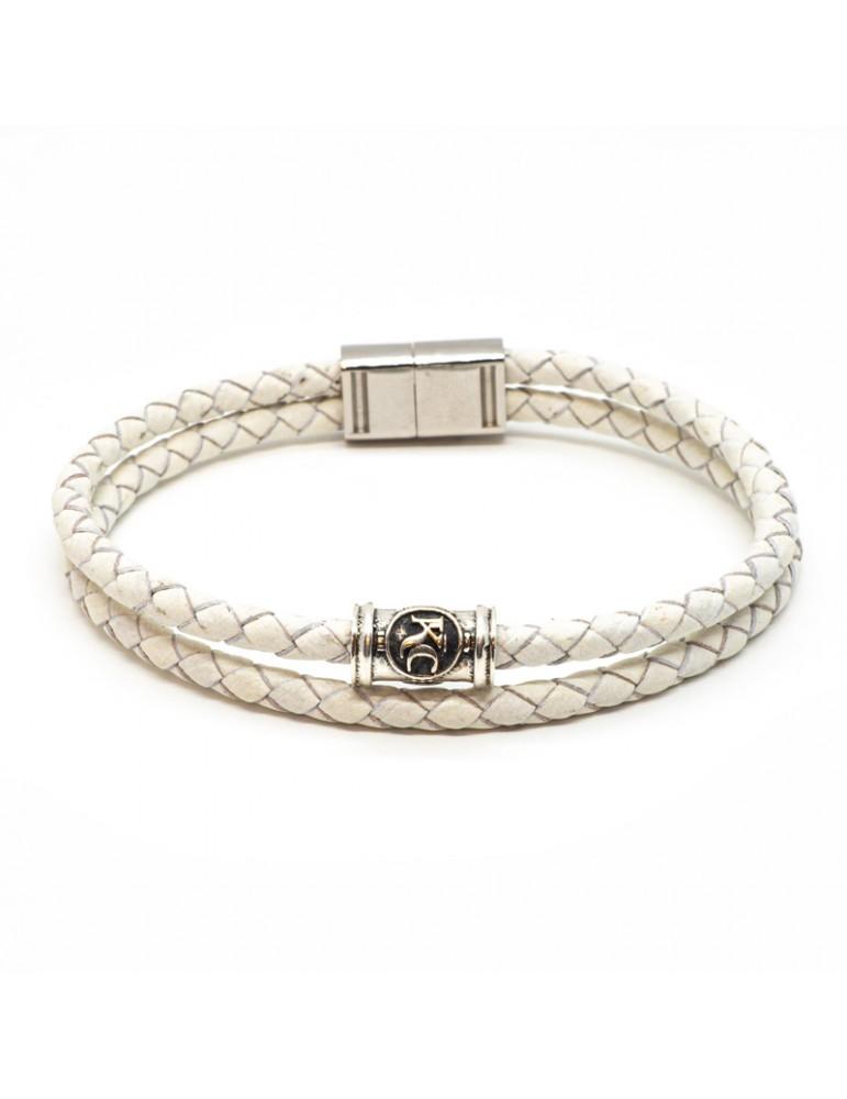 Bracelet blanc homme Kinacou - Cuir tressé double
