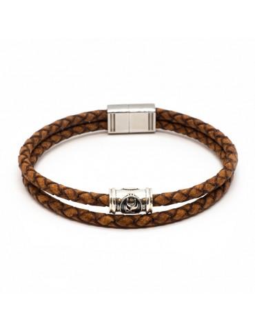 Bracelet marron homme Kinacou - cuir tressé double