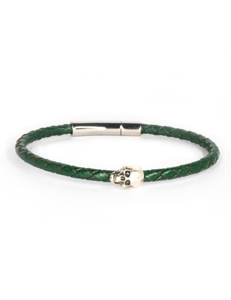 Bracelet Skull vert homme Kinacou - Cuir tressé
