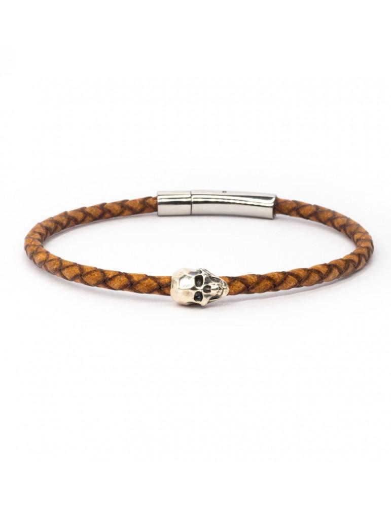 Bracelet Skull marron homme Kinacou - Cuir tressé
