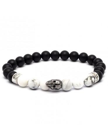 Bracelet Skull noir Kinacou - Howlite et Obsidienne mat