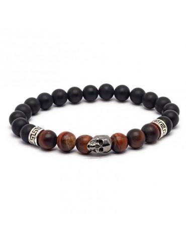 Bracelet Skull noir Kinacou - Œil de Taureau et Obsidienne mat