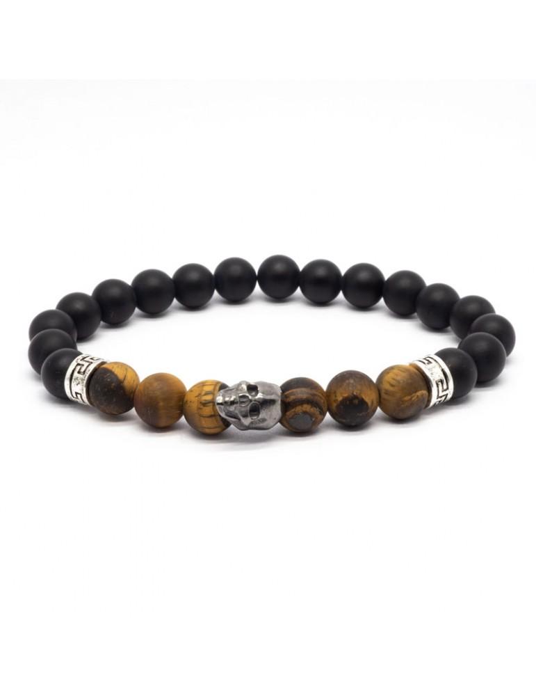 Bracelet Skull noir Kinacou - Œil de Tigre et Obsidienne mat