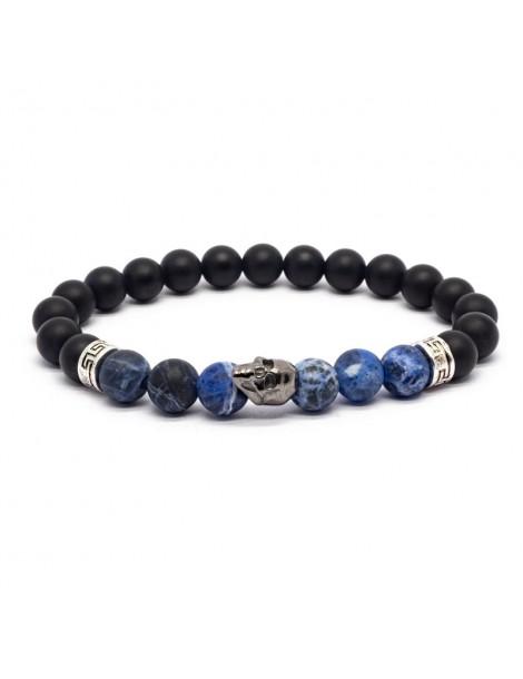 Bracelet Skull noir Kinacou - Sodalite et Obsidienne mat