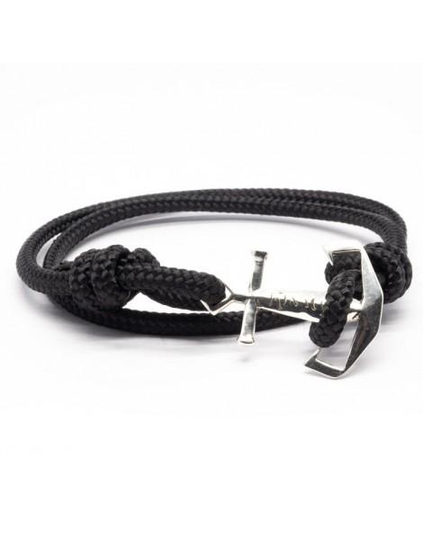 Bracelet Ancre marine Kinacou - cordage noir