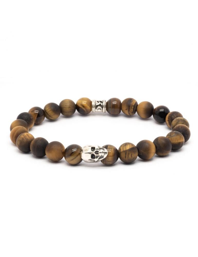 Bracelet Skull blanc Kinacou - Œil de tigre