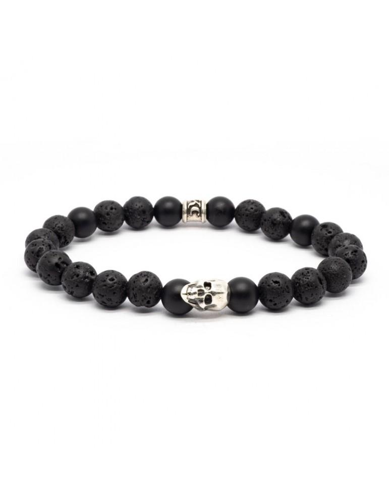 Bracelet Skull blanc Kinacou - Pierre de lave et Obsidienne
