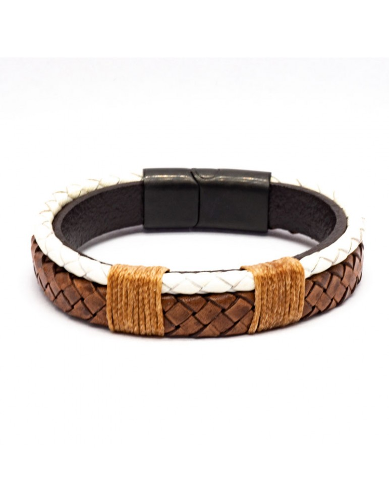 Bracelet Full Cuir Kinacou - blanc et marron