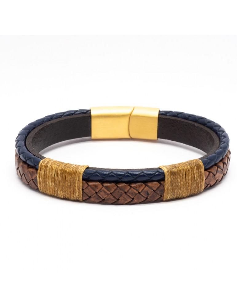 Bracelet Full Cuir Kinacou - bleu marine et marron