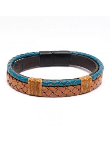 Bracelet Full Cuir Kinacou - bleu turquoise et marron