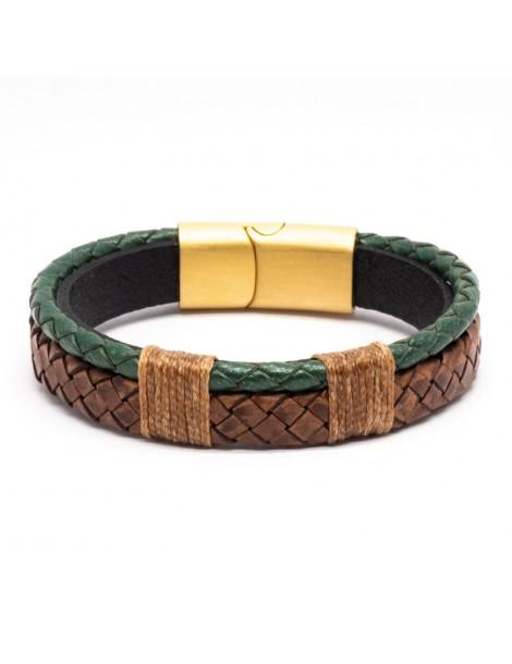 Bracelet Full Cuir Kinacou - vert et marron
