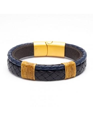 Bracelet Full Cuir Kinacou - bleu marine et noir