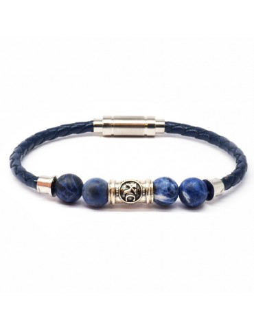 Bracelet homme Kinacou - Cuir bleu et Perles Sodalite